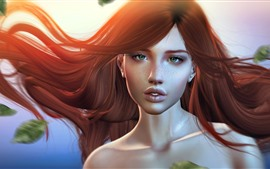 Preview wallpaper Red hair fantasy girl, sunshine