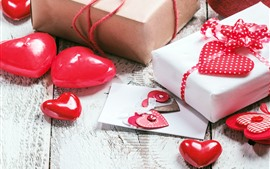 Preview wallpaper Red love hearts, gifts