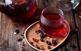 Chá vermelho, copo, bebidas
