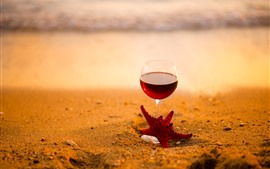Red wine, glass cup, starfish, beach, sea