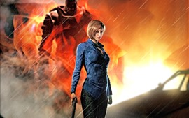 Preview wallpaper Resident Evil 3: Nemesis, girl, gun, rain