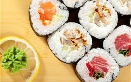 Preview wallpaper Rice rolls, sushi, lemon slice