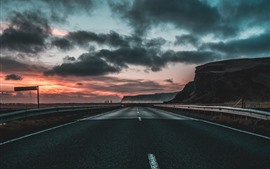 Preview wallpaper Road, highway, clouds, dawn