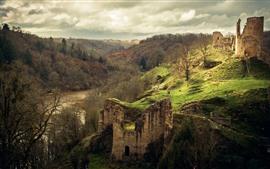Ruinen, Burg, Hügel, Fluss, Bäume