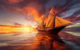 Voilier, mer, coucher de soleil