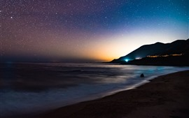 Preview wallpaper Sea, coast, starry, sky, night