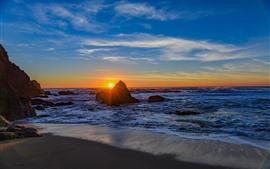 Mar, rocas, playa, olas, atardecer.