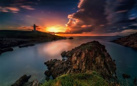 Mar, rochas, pôr do sol, nuvens, farol