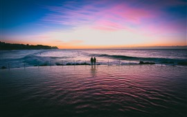 Preview wallpaper Sea, water surface, lovers, sunset