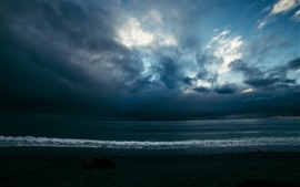 預覽桌布 海,波浪,雲,黃昏