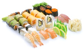 Preview wallpaper Seafood, sushi, shrimp, white background