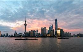 Шанхай городской пейзаж, небоскребы, башня, река, сумерки, Китай