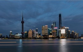Preview wallpaper Shanghai, skyscrapers, tower, city, sea, night, China
