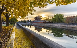 Preview wallpaper Shenwumen, trees, yellow leaves, river, autumn, Beijing, China