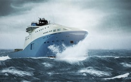 Navio, mar, tempestade, chuva
