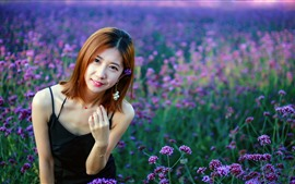 Short hair Chinese girl, flowers, summer