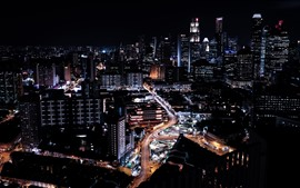 Preview wallpaper Singapore, city at night, buildings, roads, lights