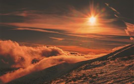 Preview wallpaper Slope, mountain, sun, sunshine, snow, clouds, winter