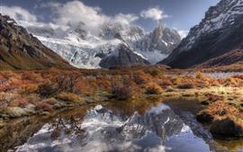 Montanhas cobertas de neve, lago, grama