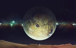 Espace, planète, désert, étoiles