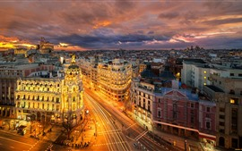 Preview wallpaper Spain, Madrid, Europe, city at night, roads, buildings, lights
