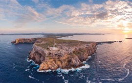 Preview wallpaper Spain, lighthouse, sea, clouds, sunset