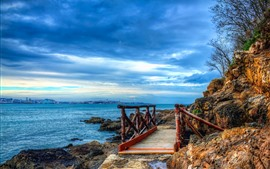 Espanha, mar, ponte, rochas, nuvens azuis