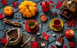 Preview wallpaper Still life, pumpkin, coffee beans, cups, knife, red leaves