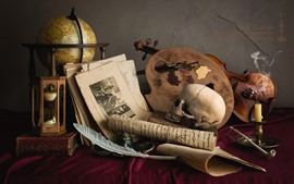 Still life, skull, violin, photo, candle, feather