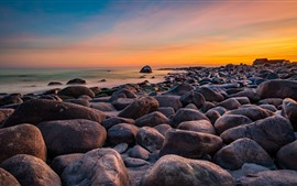 Preview wallpaper Stones, sea, Norway, sunset