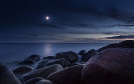 Stones, sea, moon, night