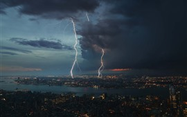 Storm, lightning, city, night