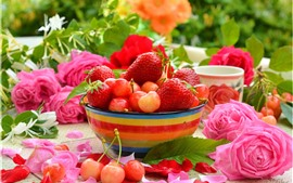 Preview wallpaper Strawberry and cherry, delicious fruit, roses, bowl
