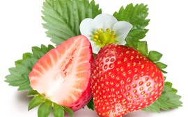 Preview wallpaper Strawberry and flower, white background