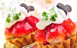 Клубника, торт, сливки, листья, десерт