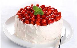 Aperçu fond d'écran Gâteau aux fraises, crème, feuilles de menthe