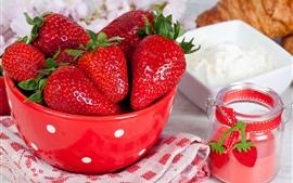 Клубника, фрукты, миска