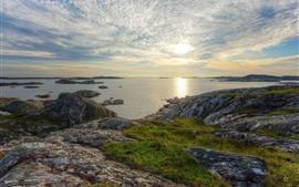 Suecia, mar, costa, rocas, nubes, puesta de sol