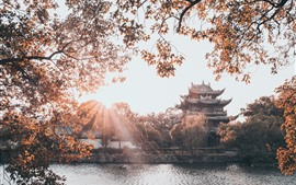 Preview wallpaper Taizhou, Donghu Park, buildings, trees, lake, China