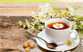 Chá, copo, colher, margarida