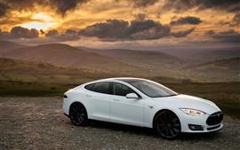 Vorschau des Hintergrundbilder Tesla Model S weißes Auto Seitenansicht