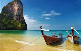 Preview wallpaper Thailand, sea, beach, boats, blue sky