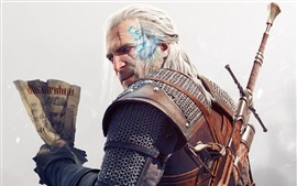 Preview wallpaper The Witcher 3: Wild Hunt, look back, sword