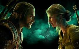 Preview wallpaper The Witcher 3: Wild Hunt, man and woman, face to face
