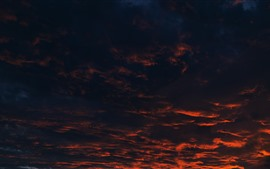 Thick clouds, sunset