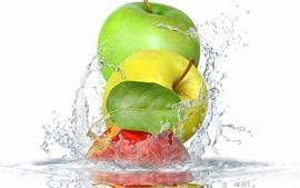 미리보기 배경 화면 세 사과, 녹색, 노란색, 빨간색, 물 스플래시