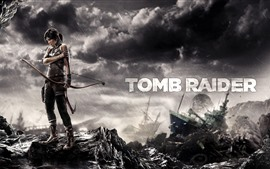 Preview wallpaper Tomb Raider, Lara Croft, bow, rainy