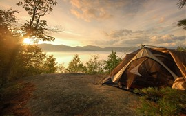 Preview wallpaper Travel, tent, river, trees, morning, sun rays