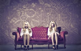 Preview wallpaper Two blonde girls, twins, sofa