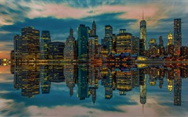 Preview wallpaper USA, New York, skyscrapers, lights, river, water reflection